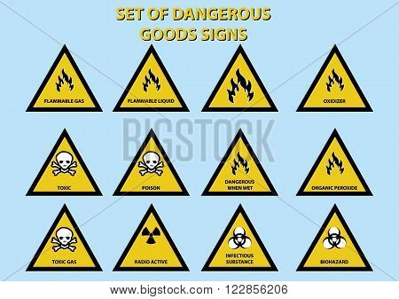 set of dangerous goods signs. vector illustration