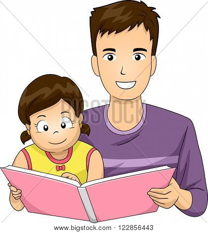 Illustration of a Father Reading a Book to His Daughter