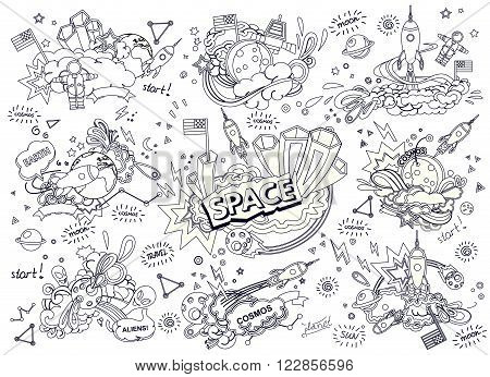 Cartoon vector illustration of space. Moon, planet, rocket, earth, cosmonaut, comet, universe. Classification, milky way. Hand drawn. Abstract