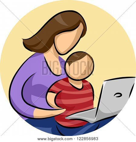 Illustration of a Son Watching His Mom Using a Laptop