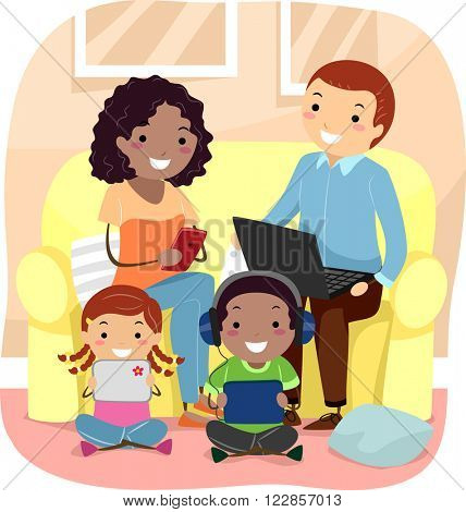 Stickman Illustration of a Family Using Their Individual Gadgets in the Living Room