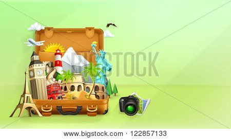 Travel background, vector illustration