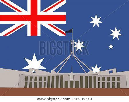 Australian parliament building Canberra Australia against Australian flag JPG