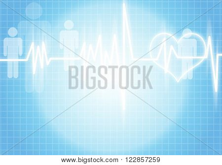 Digital background image with cardiogram on color backdrop
