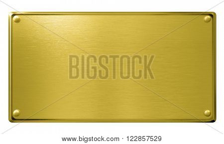 gold metal plaque or plate isolated