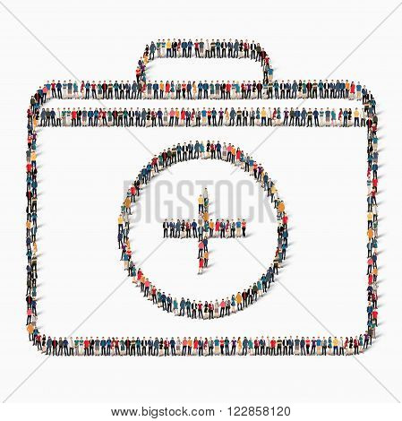 Isometric style kit medicine Web infographics concept illustration of a crowded square, flat 3d. Crowd point group forming kit form. Creative collection of people.