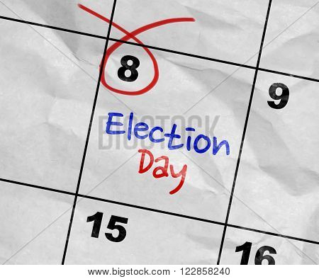 Concept image of a Calendar with the text: Election Day