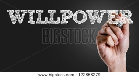 Hand writing the text: Willpower