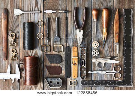Leather crafting DIY tools flat lay still life