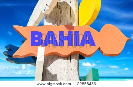 Bahia signpost with beach background