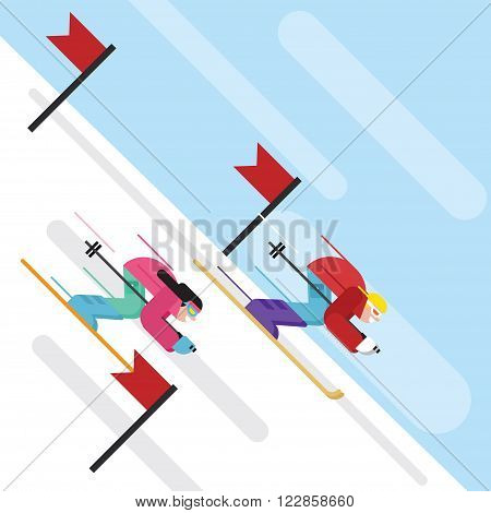 Downhill skiing Cartoon character in flat style