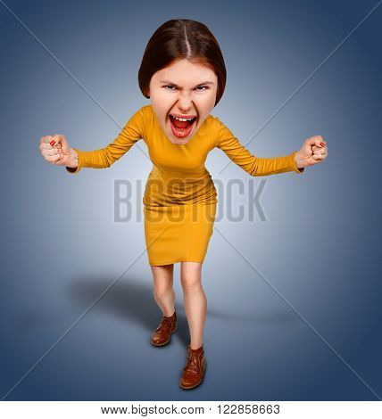 Top view of the furiously screaming, angry cartoon woman with big head. Isolated on blue background.
