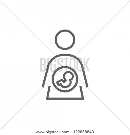 Baby fetus in mother womb line icon.
