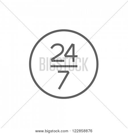 Open 24 hours and 7 days in wheek sign line icon.