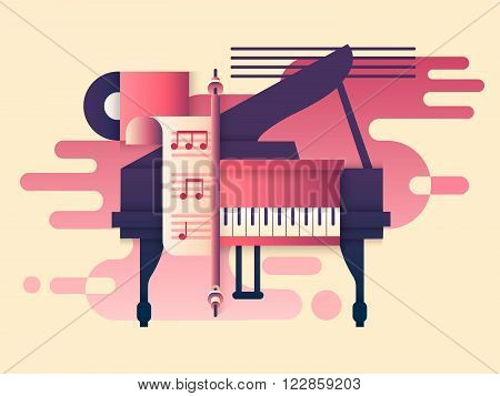 Piano design flat. Music instrument, play keyboard, classic concert, classical sound melody, vector illustration