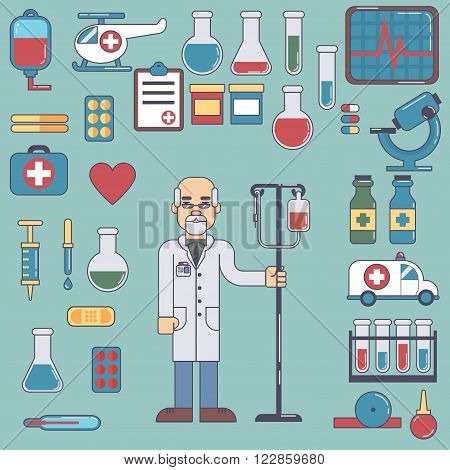 icons and characters on the medical theme esp10