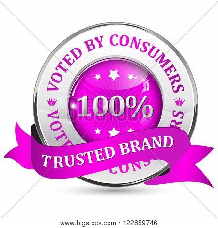 Trusted brand. Voted by consumers. - pink metallic glossy shiny icon / button with ribbon.