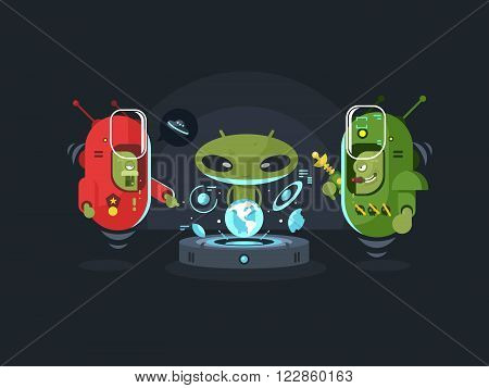 Newcomers meeting design flat. Monster alien, creature face, fantasy ufo cartoon,  vector illustration