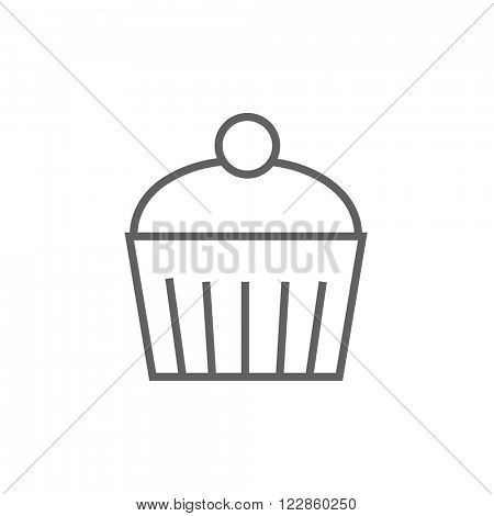 Cupcake with cherry line icon.