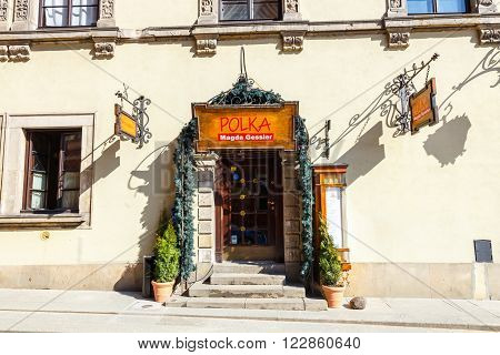 WARSAW POLAND 13 march 2016: Restaurant in old town in Warsaw in a sunny day. Warsaw is the capital of Poland