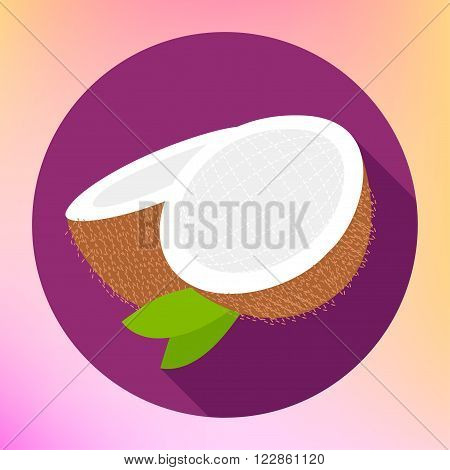 Coconut sign. Coco food Flat Icon. Cokernut fruit vector pictogram. Cocoanut exotic fruit sign. Sliced coconut flat icon for web and mobile devices