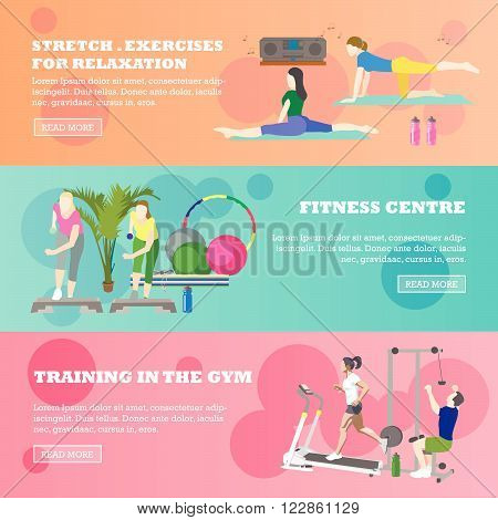 Fitness center horizontal banners set. Sport equipment and accessories. Training concept vector illustration. People running on treadmill, yoga, working out.