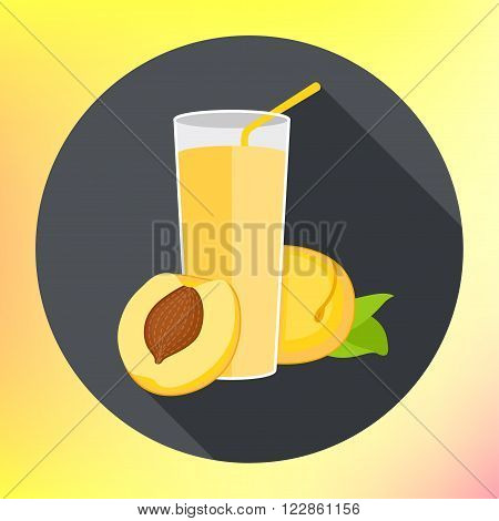 Glass of apricot juice flat vector icon with long shadows. Abstract vector illustration for a logo glass cup with fresh juice. Fresh Glass of peach Juice. Peach juice vector flat.