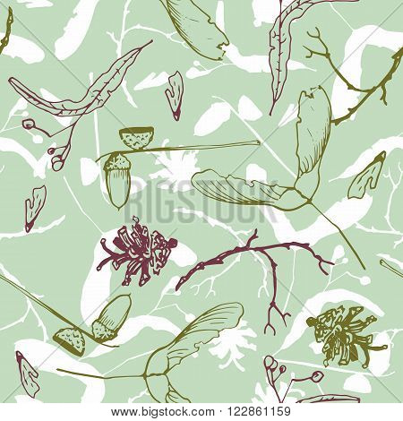 seamless pattern with twigs and seeds, acorns  and pine cones, hand drawn vector illustration