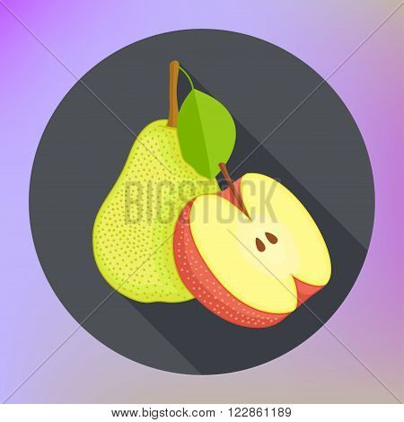 Red apple with pear flat vector icon with long shadow. Apple and pear. Vector illustration. Healthy fruits sign.
