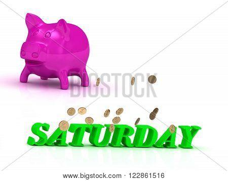 SATURDAY bright word many monets money pink piggy on white background