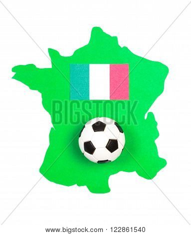 Soccer ball and flag European country on green contour France UEFA European Championship 2016