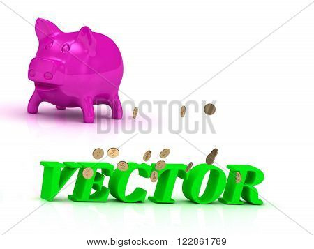 VECTOR bright word many monets money pink piggy on white background
