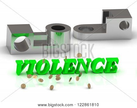 VIOLENCE- words of color letters and silver details on white background