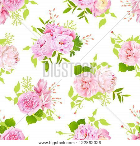 Beautiful pink peonies with green leaves on white seamless vector print in shabby chic style.
