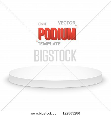 Illustration of Photorealistic Winner Podium Stage Template. Speaker Podium Stage Isolated on White Background for Product Placement, Presentations, Contest.