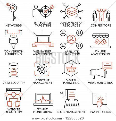 Vector set of 16 icons related to business management strategy career progress and business process. Mono line pictograms and infographics design elements - part 45