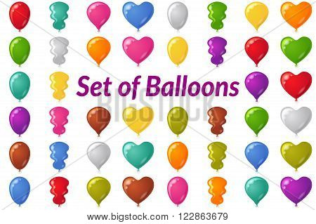 Set of Festive Balloons of Various Colors and Shapes, Isolated on White. Eps10, Contains Transparencies. Vector