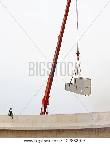 mobile crane carrying the load on the site