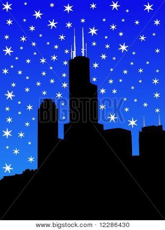 Sears tower Chicago in winter with falling snow