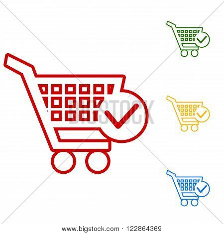 Shopping Cart and Check Mark Icon. Set of line icons. Red, green, yellow and blue on white background.