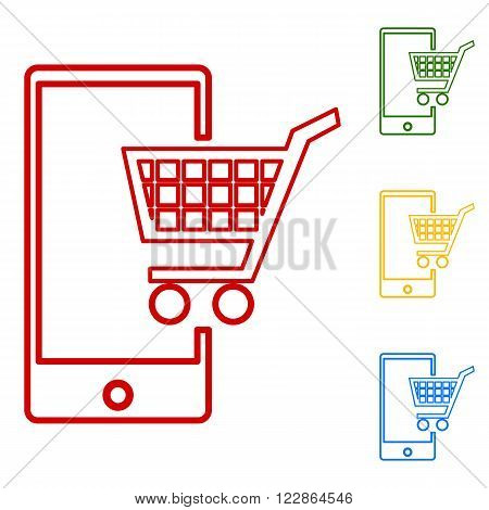 Shoping on smart phone sign. Set of line icons. Red, green, yellow and blue on white background.