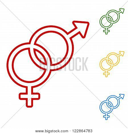 Sex symbol sign. Set of line icons. Red, green, yellow and blue on white background.