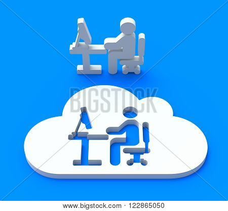 Workplace in the cloud - 3D communication concept