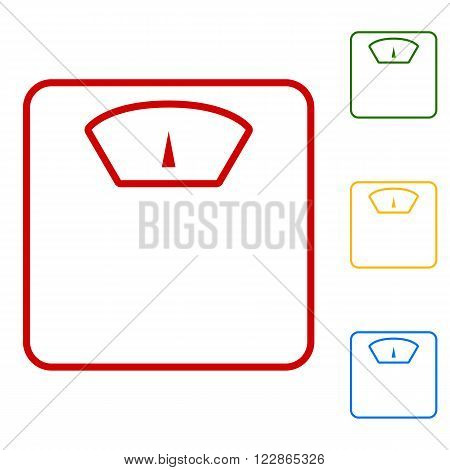 Bathroom scale sign. Set of line icons. Red, green, yellow and blue on white background.