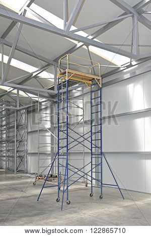 Mobile Scaffolding Tower Platform in Distribution Warehouse