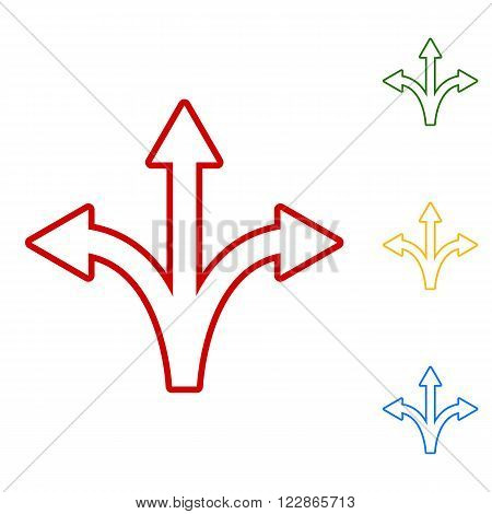 Three-way direction arrow sign. Set of line icons. Red, green, yellow and blue on white background.