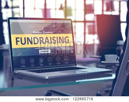 Fundraising Concept Closeup on Laptop Screen in Modern Office Workplace. Toned Image with Selective Focus. 3D Render.