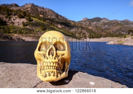Abandoned Human Skull on the Volcanic Rock