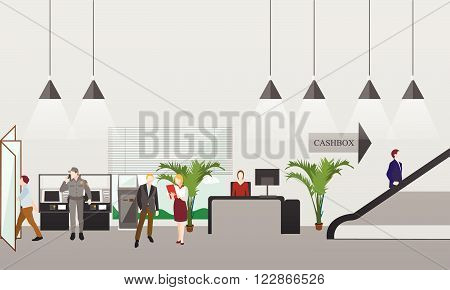 Horizontal vector banner with bank interiors. Finance and money concept. Flat cartoon illustration. Counter desk, cashier, consulting, currency exchange.