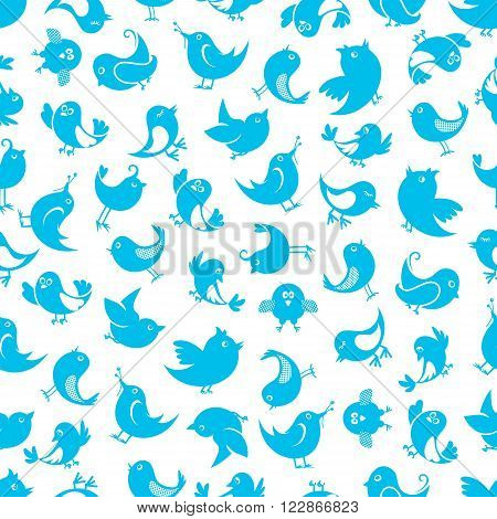 Funny little birds seamless pattern with silhouettes of cute sparrows with upturned tails on white background. Wallpaper or fabric print themes